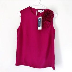 Liz Lange Berry Wine Fabric Flower Shell NWT